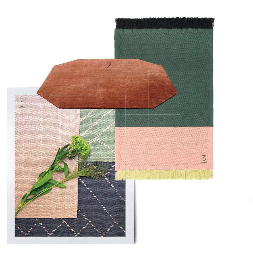 1. Saanan ja Ollin suunnittelema matto, 160 x 230 cm, 175 e, shop.finarte.fi. 2. &traditionin The Moor Rug -matto 1 799 e, Formverk. 3. Trace-matossa on trendivärit, 140 x 195 cm, 540 e, Normann Copenhagen.
