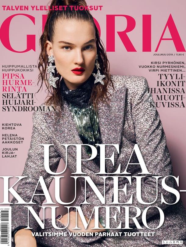 Glorian joulukuun numeron kannessa poseeraa huippumalli Kirsi Pyrhönen.