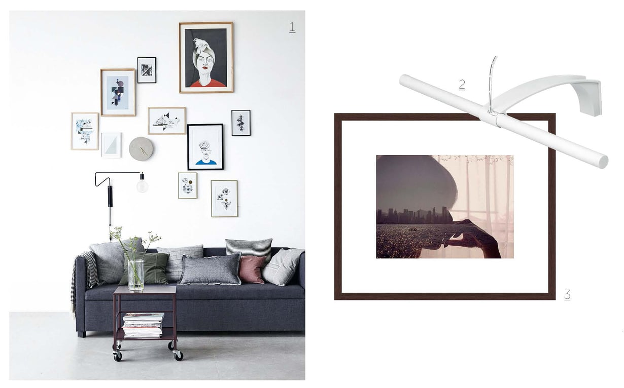 1. Saat epäsymmetrisen asetelman toimimaan, kun ryhmittelet taulut lattialla ja mallaat kokonaisuuden kuvakoot teipillä seinäpintaan. Kuvan graafiset printtitaulut ovat House Doctorin. 2. Lämpimän valkoista LED-valoa antava tauluvalaisin 21,95 e, clasohlson.fi. 3. Valokuvaaja Miki Takahashin ottama, kehystetty Tsim Sha Tsui -muotokuva 299 e, 30 x 40 cm, lumas.com.