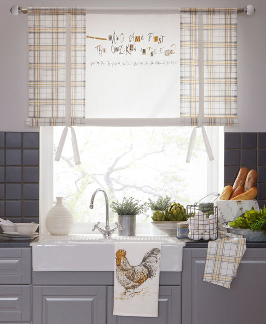 <p><p>Tässä keittiössä ovat kaikki munat yhdessä korissa. Vaihdatko sinä pääsiäiseksi verhot? Kuva: Jotex</p></p>