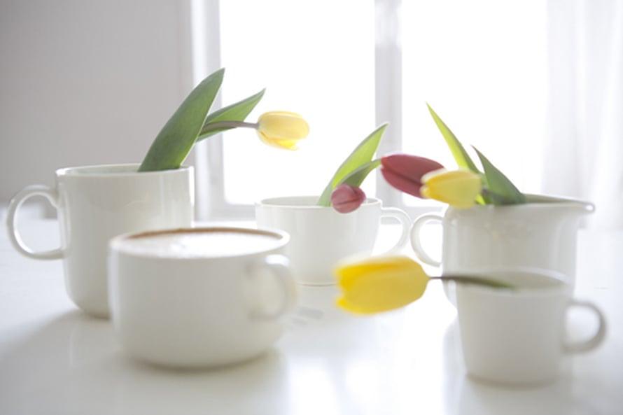 <p><p>Tulppaanit kuuluvat ehdottomasti pääsiäiseen, mutta enpä ole ennen tullut ajatelleeksi niiden laittamista samoihin kuppeihin, joista juon aamukahvini. Tätä voisinkin kokeilla pääsiäispöydässä, sillä näin saa hetkessä luotua yhtenevän kattauksen ja vielä suloisen sellaisen! Kuva: Arabia</p></p>