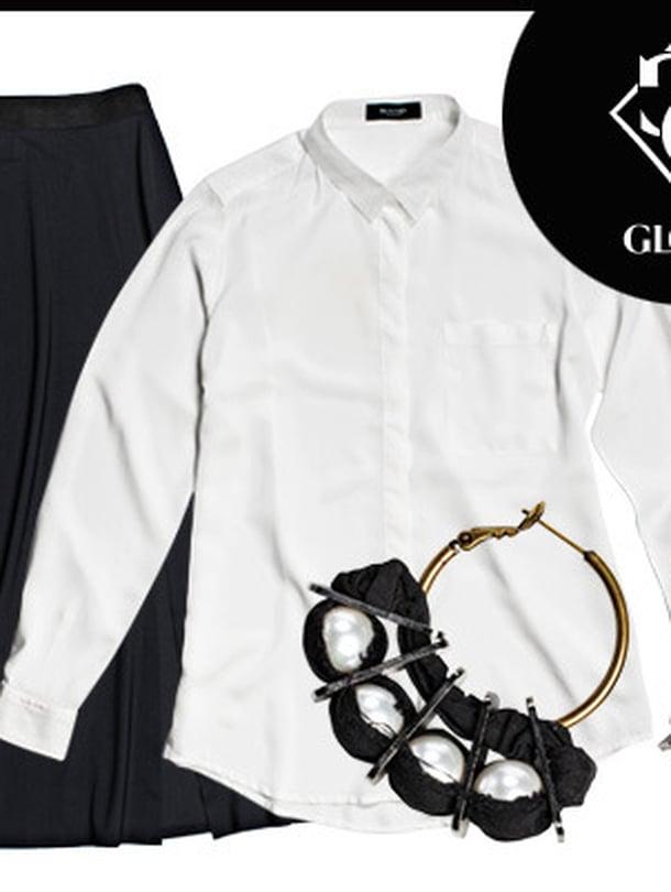 Valkoinen paitapusero on vaatekaapin peruspilari, 189 e, Sand. Kauniisti laskeutuvassa viskoosimidihameessa on kunnon halkio, 175 e, Filippa K. Lanvinin hulppeat helmikorvakorut 595 e, Luxbag.