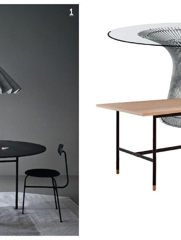 1. Menun Snaregade-pöytä ja Dancing-valaisin ovat upea kokonaisuus, Ø 140 cm, 1 844 e, Finnish Design Shop.  2. Knollin Platner-pöytä on ikuinen klassikko, 4 582 e, Vepsäläinen. 3. Tammisessa Focus-ruokapöydässä on trendikkäät, suorat, metalliset jalat, 95 x 200 cm, 599 e, Asko.