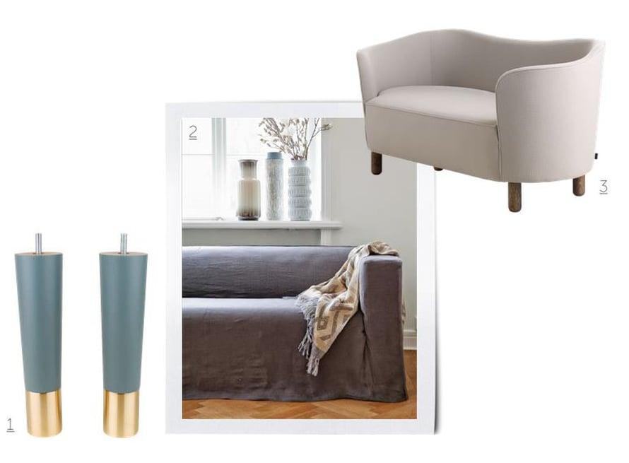 1. Vanha sohva päivittyy uusilla jaloilla. Estelle 220-jalkoja saa useissa väreissä, 91 e / 4 kpl, prettypegs.com. 2. Rento pellavairtopäällinen muuttaa hetkessä ryhdikkään Klippan-sohvan tyylin. 409 e, bemz.com.   3. Tanskalainen arkkitehti Flemming Lassen suunnitteli Mingle-sohvan jo vuonna 1935, 2 699 e, bylassen.com.