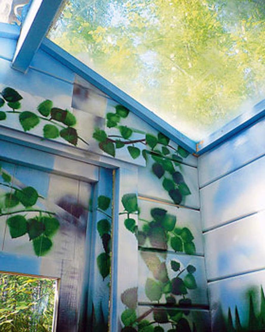 <p><p>Miksei ulkohuusseissa ole aina lasikatto? Koivumetsää voi myös jatkaa vessan sisäpuolelle maalaamalla koivunoksia seiniin. Kuva: Biolan kuivakäymälät</p></p>