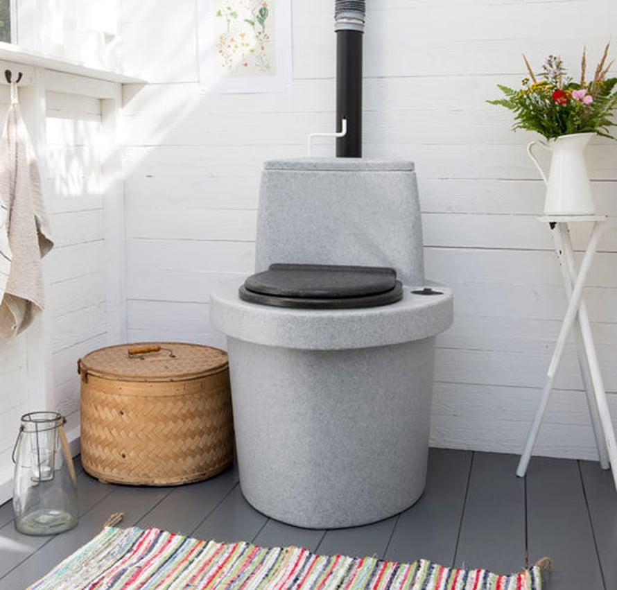 <p><p>Kuivakäymälä ei useinkaan ole huussin kaunistus, mutta pärekorit, tuoreet kukat ja räsymatto raikastavat tunnelman. Kuva: Kekkilä</p></p>