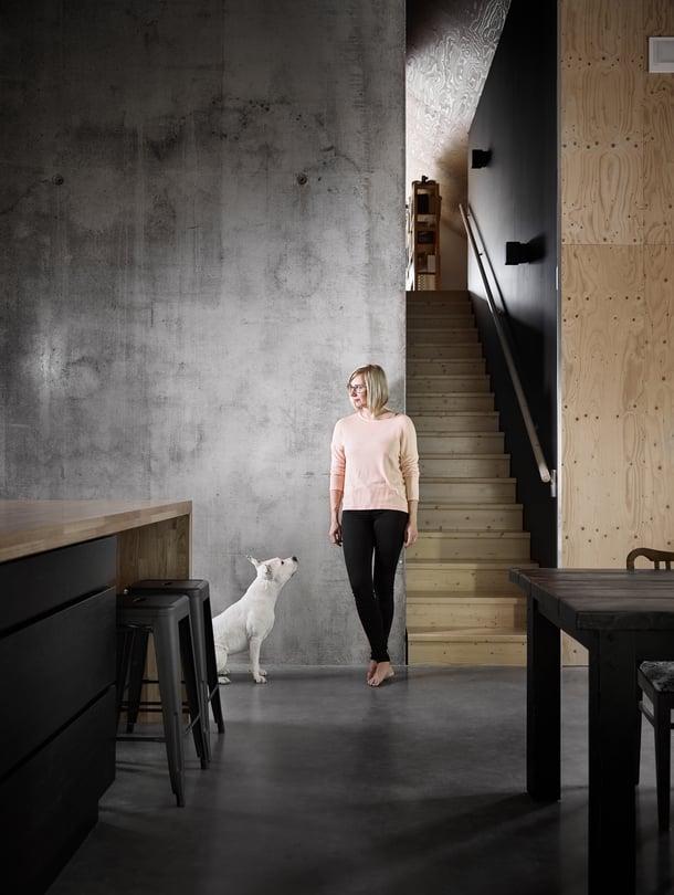Tiinan ja Kara-koiran takaa nousevat portaat ylös työhuoneeseen ja kirjastoon. Seinämaalin sävy on Tikkurilan Takorauta.