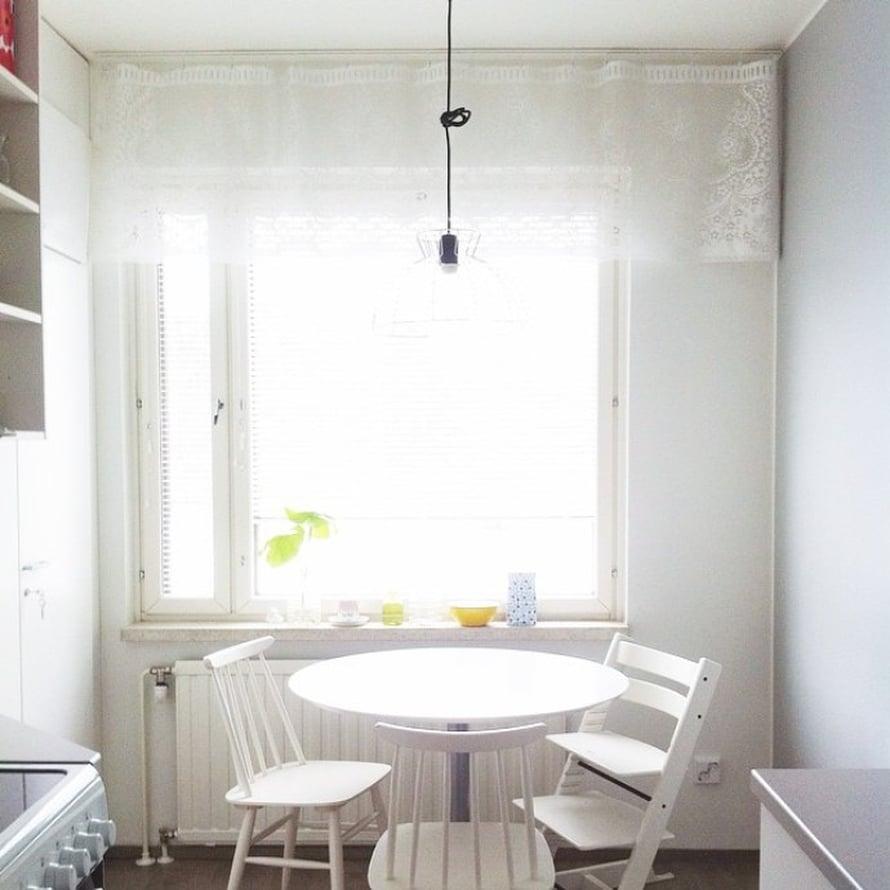 @nstar11 ripustaa kevään tullen pitsikapan keittiön ikkunaan.