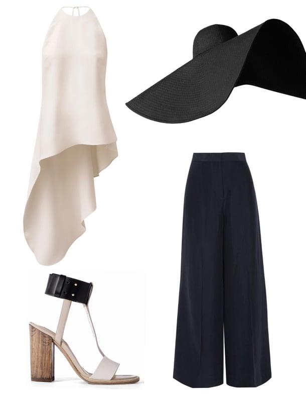 Epäsymmetrinen silkkitoppi 79,99 e, H&M Conscious Exclusive. Tolppakorkoiset sandaletit 629 e, Boss. Ylisuuri hattu 29,90 e, H&M. Stella McCartneyn laivastonsiniset housut ovat silkkisatiinisekoitetta, 590 e, net-a-porter.com