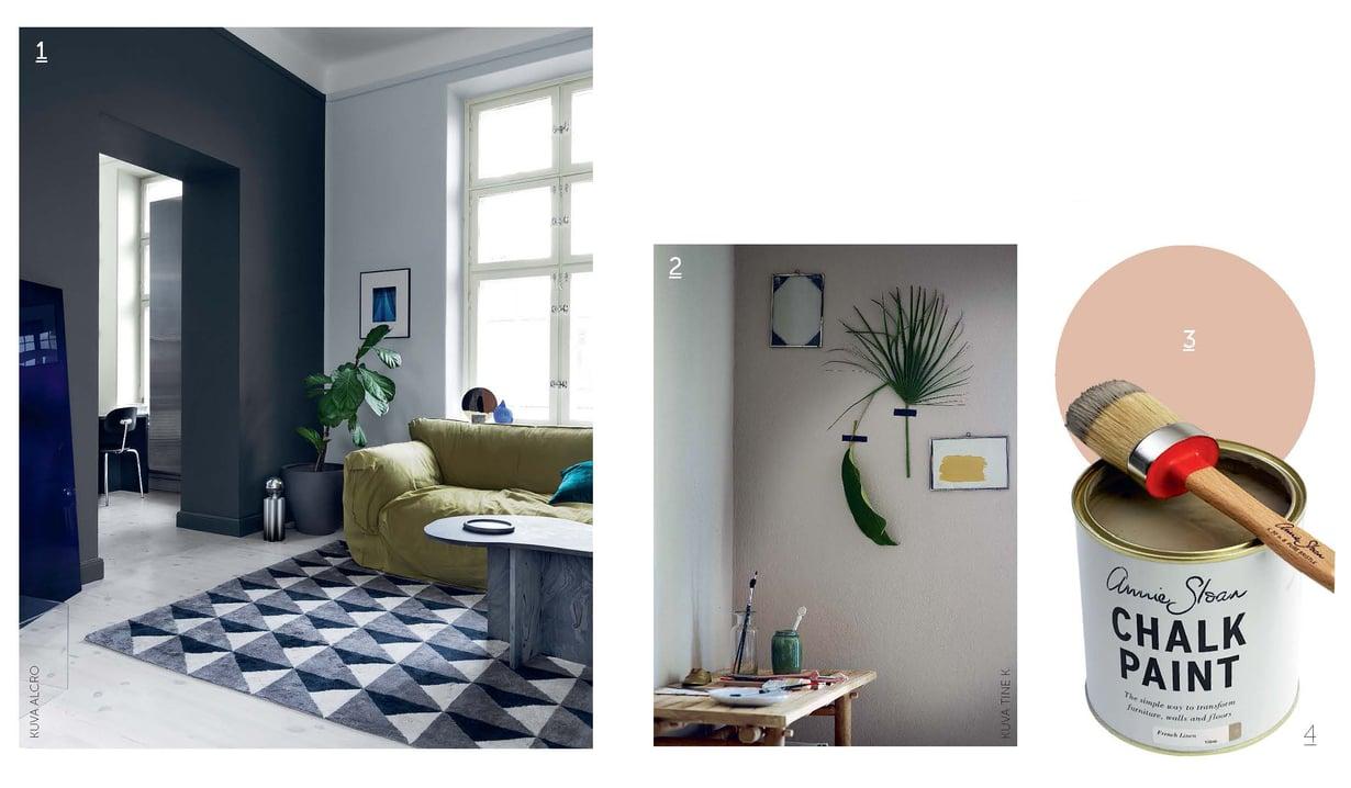 1. Tehosteseinäideaan on saatu uusi ote, kun seinärakenne on maalattu huoneen molemmin puolin. Seinän jykevyys korostuu, kun oviaukkokin on maalattu. 2. Hyvin mattapintainen kalkkimaali, kuten Kalklitir, antaa huoneeseen pehmeän tunnelman. Mitä mattaisempi maali on, sitä paremmin se antaa pinnan pienet epätasaisuudet anteeksi. Kalklitiriä myy Nougat. 3. Tikkurilan vuoden väri on tänä vuonna Angora, sävy H466, joka on elegantti mutta helppo yleisväri. 4. Annie Sloanin silkinpehmeä kalkkimaali.