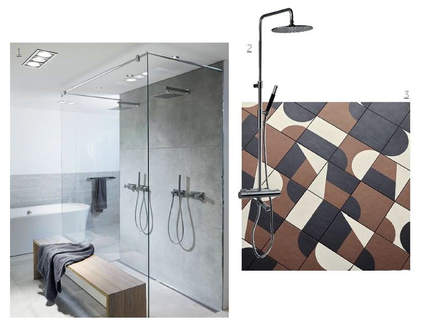 1. Unidrain-linjalattiakaivo mahdollistaa suurien lattialaattojen tyylikkään käytön kylpytiloissa, unidrain.fi. 2.  Tapwellin TVM2200-150 -suihkusekoittaja on trendikästä mustaa kromia, 1 749 e, tapwell.fi. 3. Italialainen Mutinan Puzzle-laattasarjan ovat suunnitelleet Edward Barber ja Jay Osgerby, Img Interiors ja ABL-laatat.