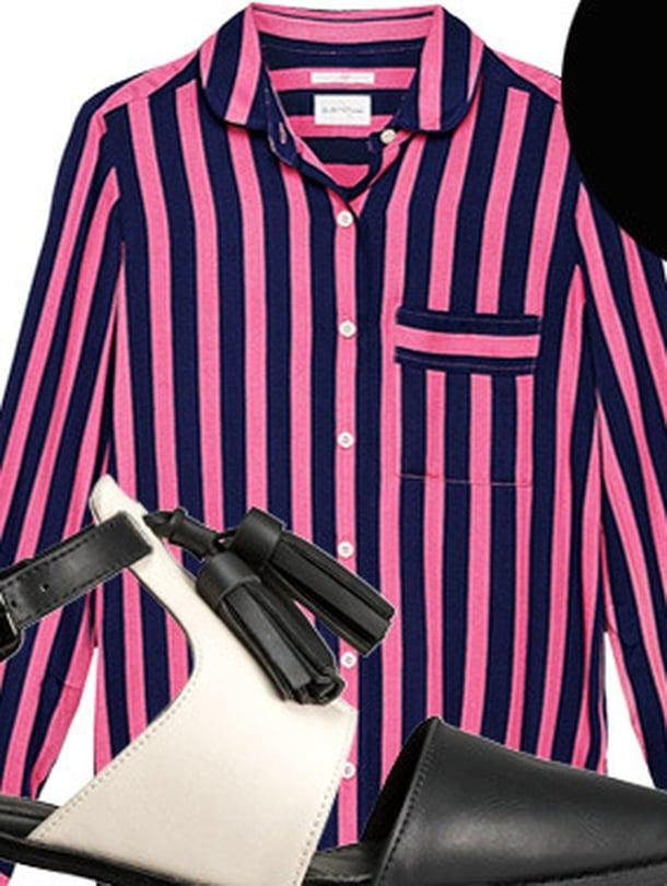 Raidallinen paitapusero 169,90 e, Gant Rugger. Kävelykengät 34,99 e, H&M. Pitkä kaulaketju 185 e, Georg Jensen.
