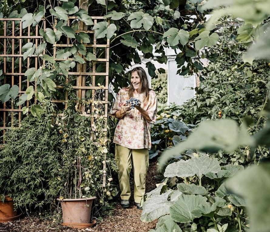 Virpi Raipala-Cormier nauttii Frantsilassa itse kasvatetuista viinirypäleistä.
