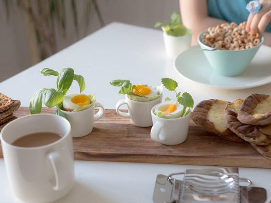 """<p><p>Kaunis kattausidea: tarjoile aamiaismunat espressokupeista ja koristele yrteillä! Kuva: <span class=""""photographer"""">Arabia</p></p></span>"""