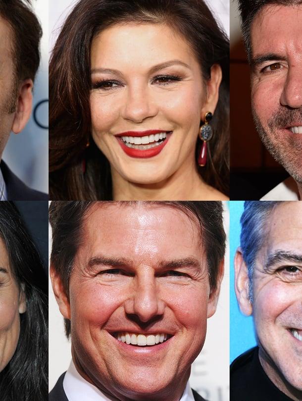 Näillä kalustoilla kelpaa hymyillä. Vasemmalta ylhäältä Nicholas Cage, Catherine Zeta-Jones, Simon Cowell, Demi Moore, Tom Cruise ja George Clooney