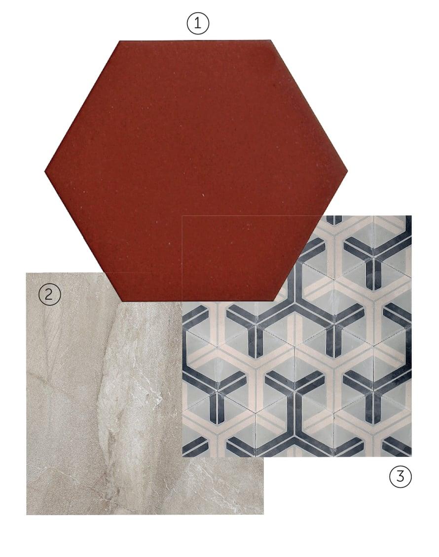 1 Kake Natura -klinkkerilaatta soveltuu seiniin ja lattioihin, koko 10 x 10 cm, hinta 128,80 e/m2, Kaakelikeskus. 2 Royale Lux -laatta jäljittelee ylellistä marmoria, 60 x 60 cm, hinta 82 e/m2, Värisilmä. 3 Popham designin sementtilaatta on 12 mm paksu, eikä siksi sovellu ihan kaikkialle, 20 x 20 cm, 160 e/m2, Marrakech design.