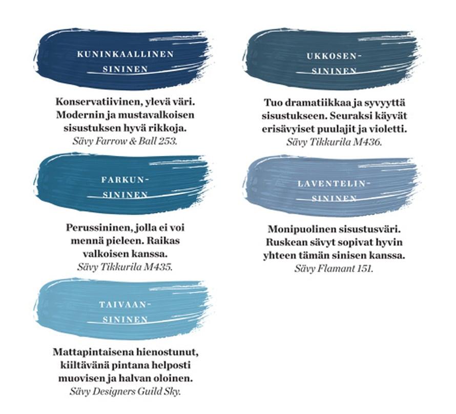 <p><p>Tässä on viisi hyvää sinistä sävyä, joita sisustuksessa kannattaa suosia.</p></p>