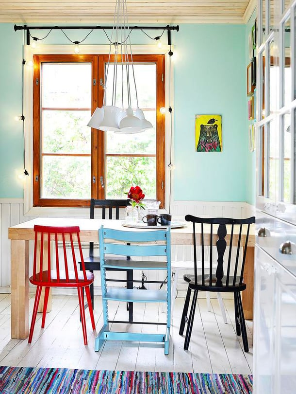 Mitä jos maalaisit keittiön seinän rohkeasti vaikka mintunvihreäksi ja tuolit eri väreillä?