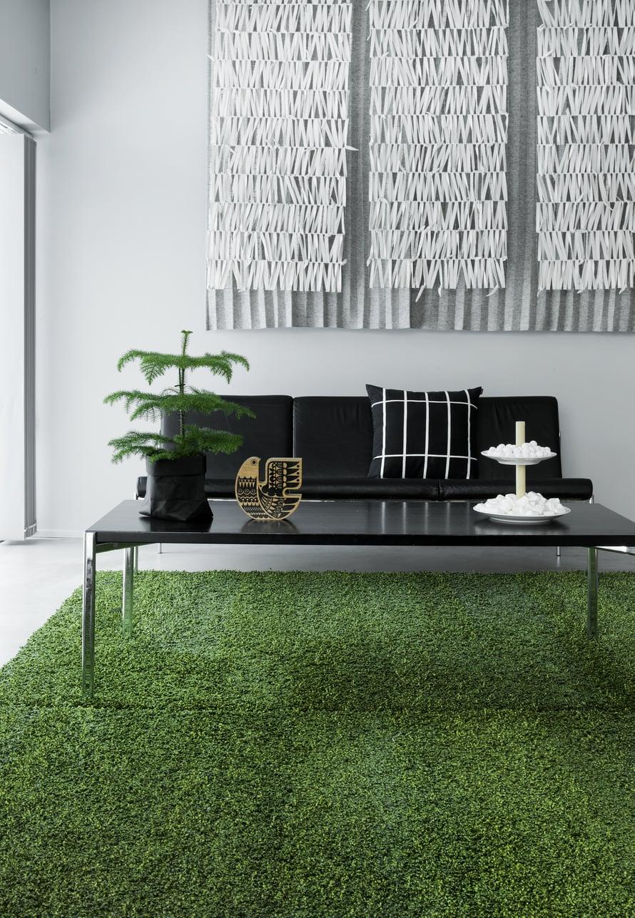Olohuoneen lattialla on kaksi identtistä sammaleenvihreää mattoa, jotka hankitiin Sisustusliike Decorasta. Ilmari Tapiovaaran suunnittelema Kiki-sohva ja -sohvapöytä ovat Artekin. Pöydällä oleva Sielunlintu on Sanna Annukan. Sisustustyyny on Marimekon. Ääniä vaimentava huopataideteos Riimejä tilattiin tekstiilitaiteilija Eeva-Kaisa Timliniltä.