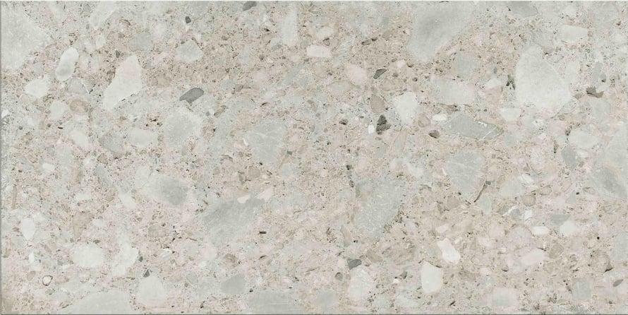 Cerim Timeless -malliston  Ceppo di gres matt -laatta  on hillitty ja astetta ajattomampi versio supertrendikkäästä terrazzo-laatasta, alkaen 59,30 e/m². Marca Coronan Newluxe-malliston vinoneliölaatta on yhdistetty kuusikulmaiseen laattaan. Pinnassa on kiinnostavalla tavalla yhdistelty eri kivilajeja, ja tyyli henkii art decoa. Mallistoa myy Decor H.